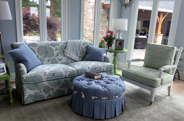 A pretty sunroom with CR Laine custom upholstered furniture by Designing Women Inc