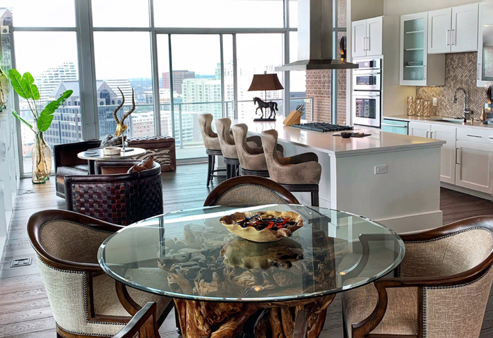 Paul Robert dining chairs for Dallas penthouse condo project by Designing Women Inc