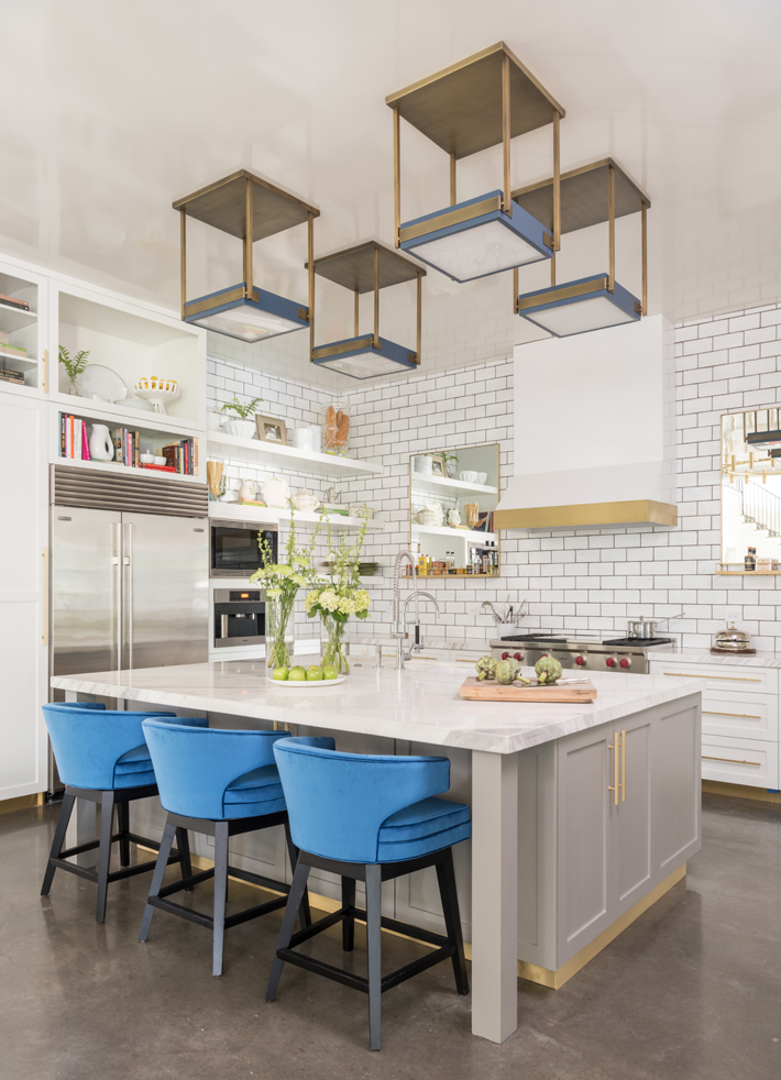 blue and white kitchen design by Laura U