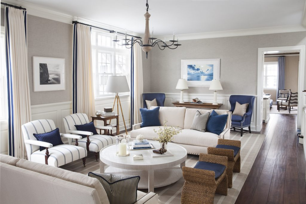 blue and white living rooms - Interior design by S-B Long Interiors