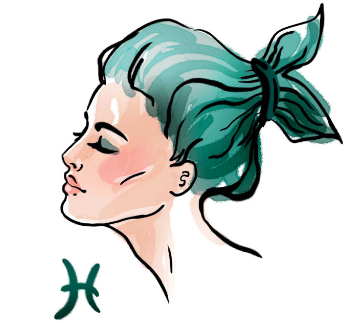 illustration of a woman representing pisces zodiac sign for pisces