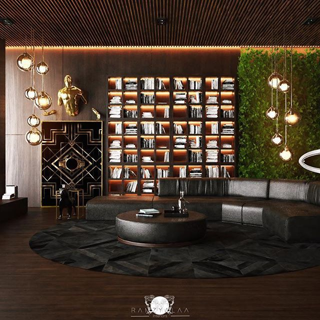 luxury living room with living plant wall - decorate with plants by Ramzy Alaa