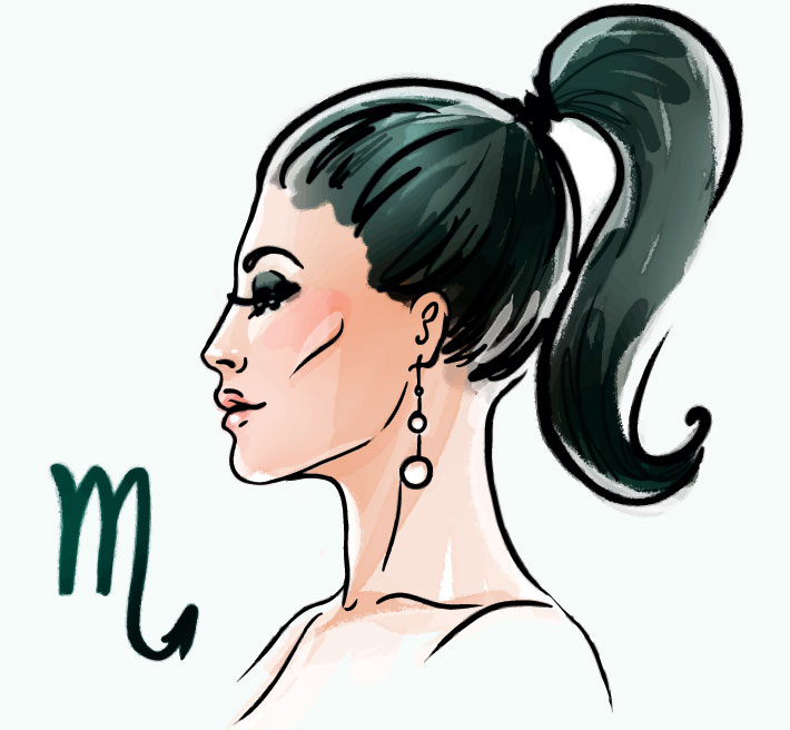 illustration of a woman representing scorpio zodiac sign for scorpio