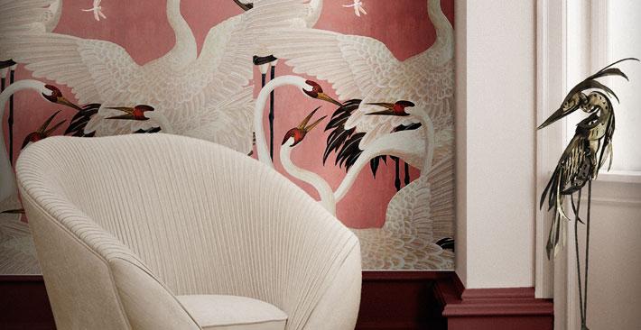 audrey chair koket - neutral room ideas - gucci wallpaper