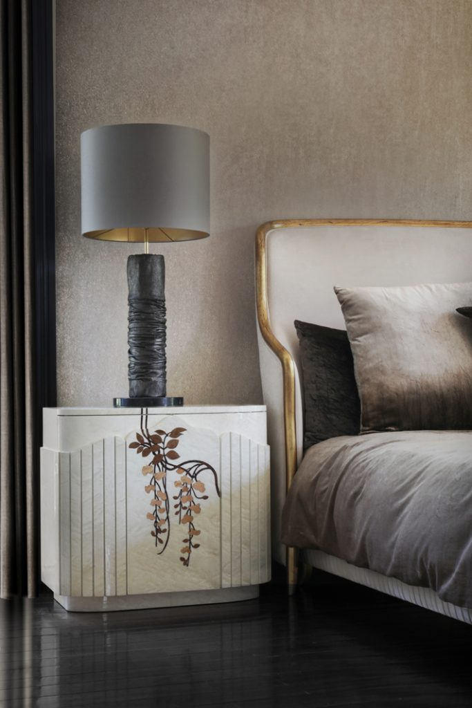 fleur nightstand and rouche lamp by koket - neutral home decor
