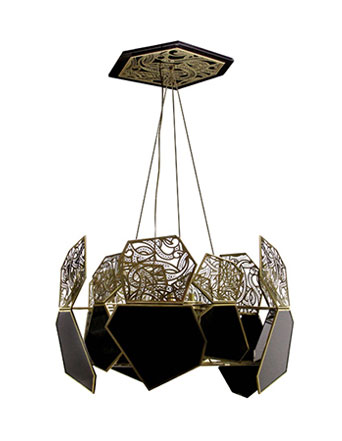 gold and black glass modern chandelier hypnotic by koket