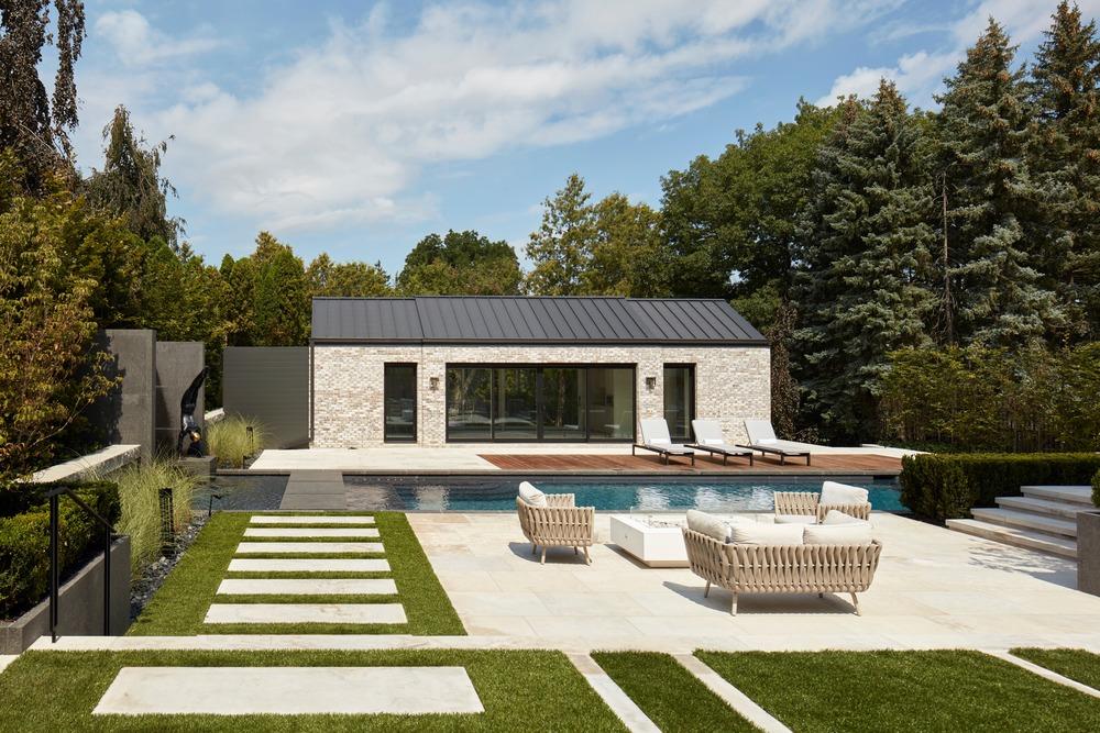 luxury pool house and pool