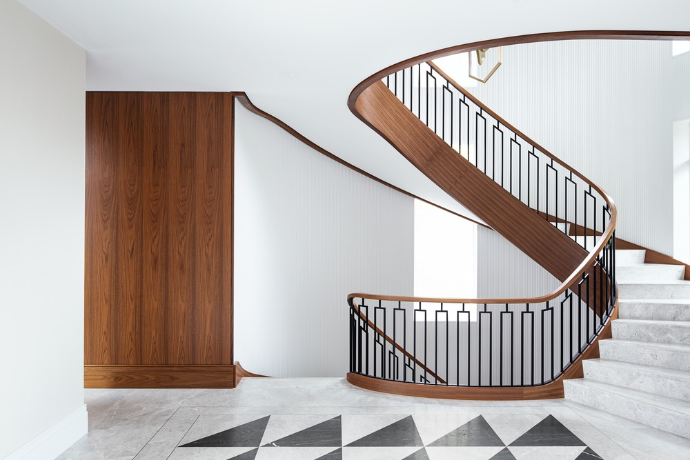 modern classic interior beautiful stairwell wood and marble