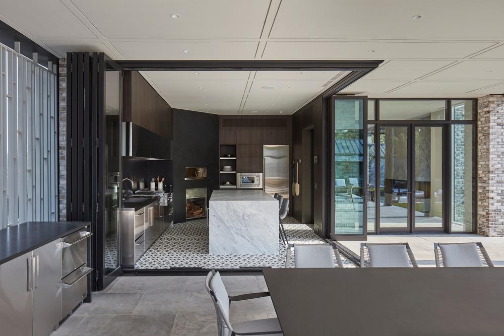 modern open air kitchen at villa cortile in canada