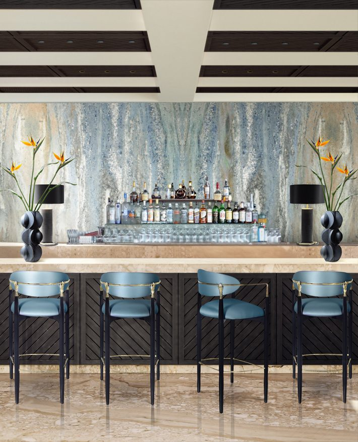 nahema bar stool by koket hand decor brass