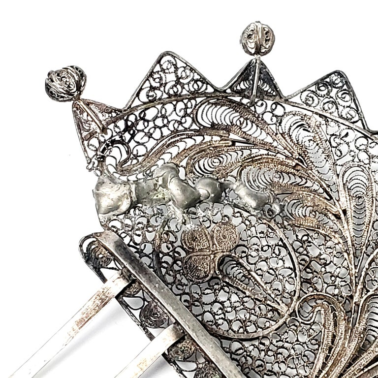 Victorian Silver Filigree Hair Comb from 1stDibs