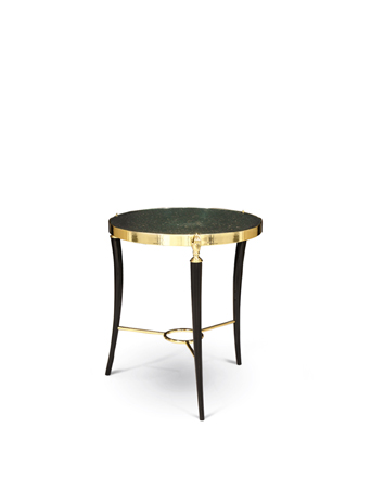 gisele sidetable koket - brass hands and peacock feather top - hand decor
