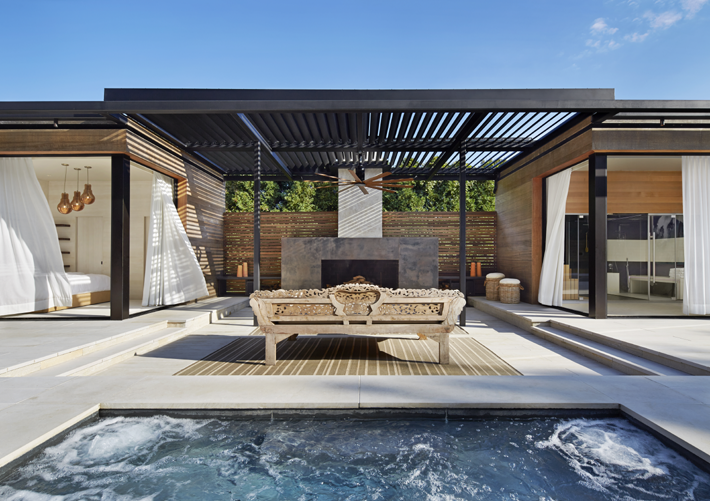 modern rustic decor Pool house and spa retreat in Amagansett, NY designed by ICRAVE (Photo by John Muggenborg)