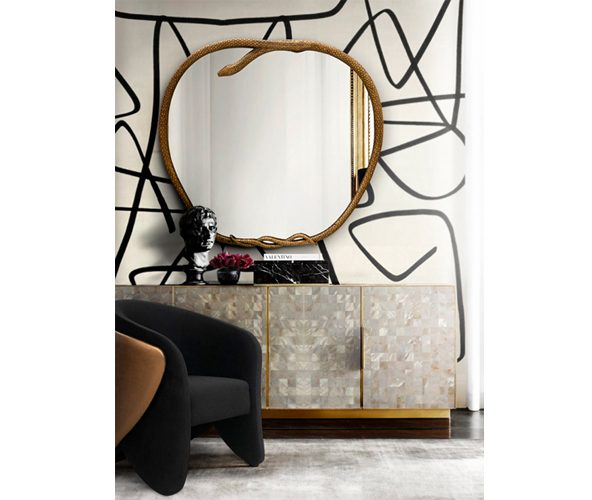 serpentine mirror by koket snake decor