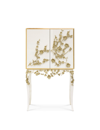 white and gold spellbound bar cabinet koket with orchids