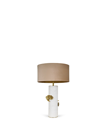 marble with a gold hand vengeance table lamp koket