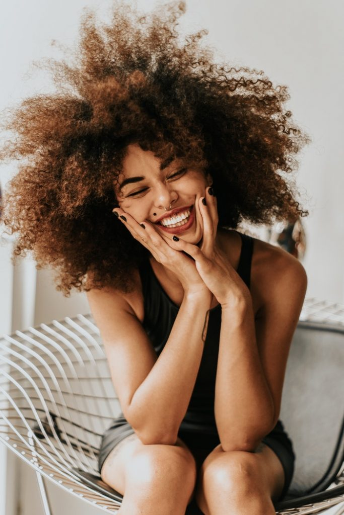 positive woman laughing