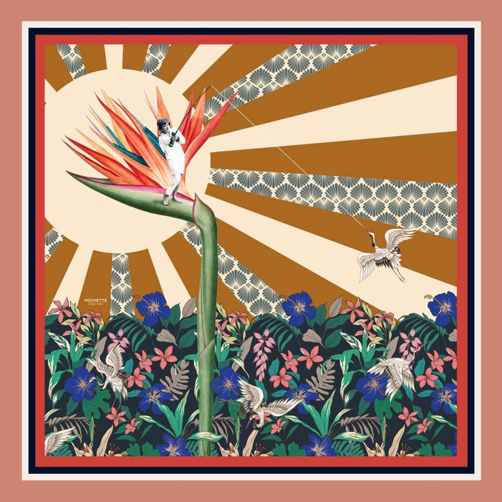 gone fishing silk scarf designed by sebastien decamps - also available in pocket squares