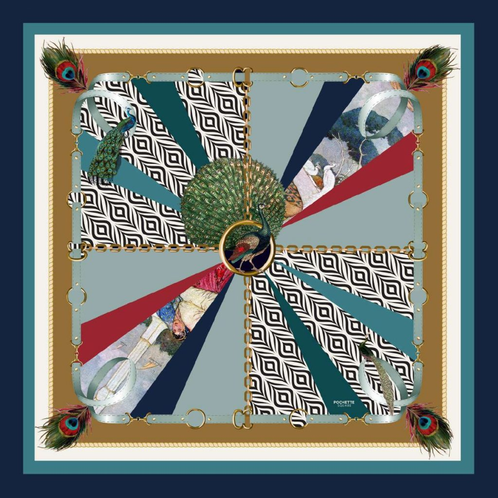 'Rocked by Peacocks' Silk Scarf designed by sebastien decamps also available in pocket squares