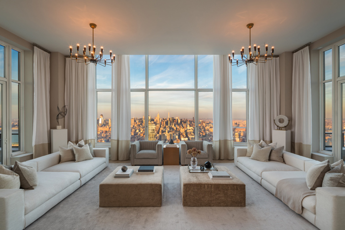 luxurious neutral living room in a penthouse at the four reasons private residences downtown NYC