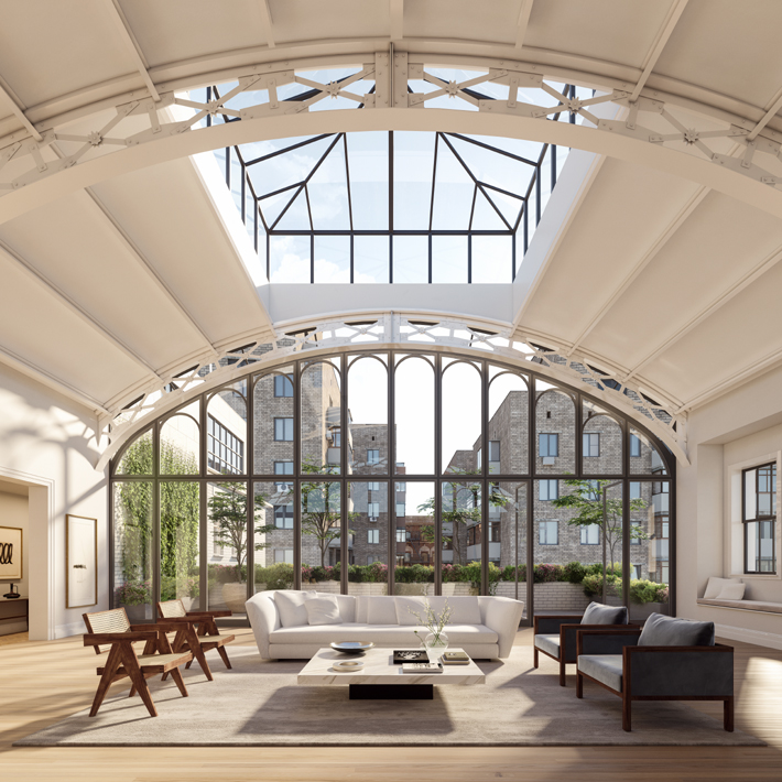 a beautiful living room with a Solarium roof in Penthouse at 555 West End Avenue million dollar listings nyc