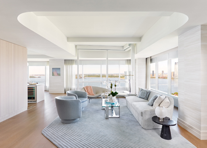 A light and airy living room in a 4-bed, 3.5 bath located at 77 Greenwich, million dollar listings nyc designed by Deborah Berke Partners