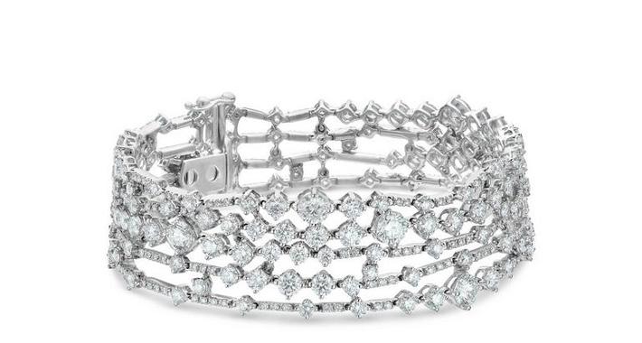 Fine Jewelry bracelet - Arpeggia five-line bracelet in white gold 18 cm