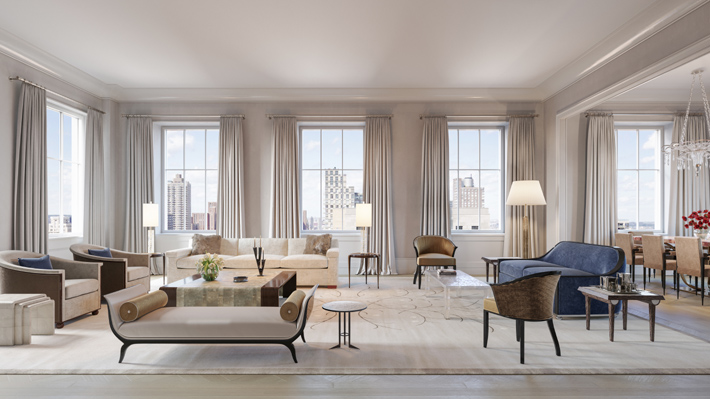 luxury living room interior design rendering beckford house & tower nyc - webcam envy - million-dollar listings - design by sofield studio