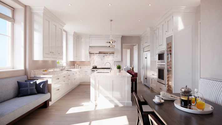 rendering of a luxury white kitchen with marble and light wood floors at beckford house & tower design by tudio sofield - million dollar listings nyc