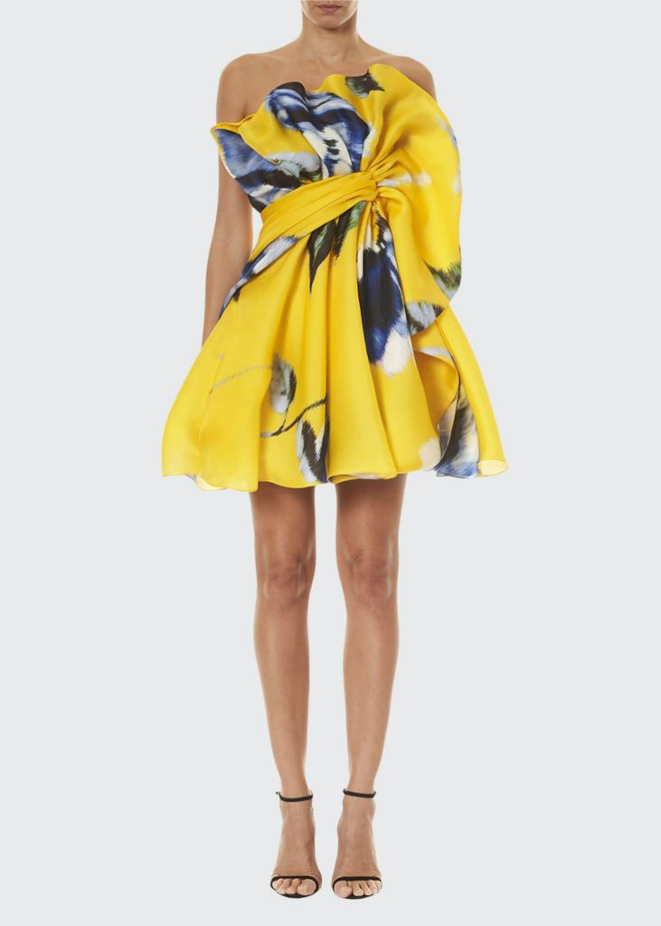 CAROLINA HERRERA Floral Print Silk Ruffled Mini Dress - timeless print
