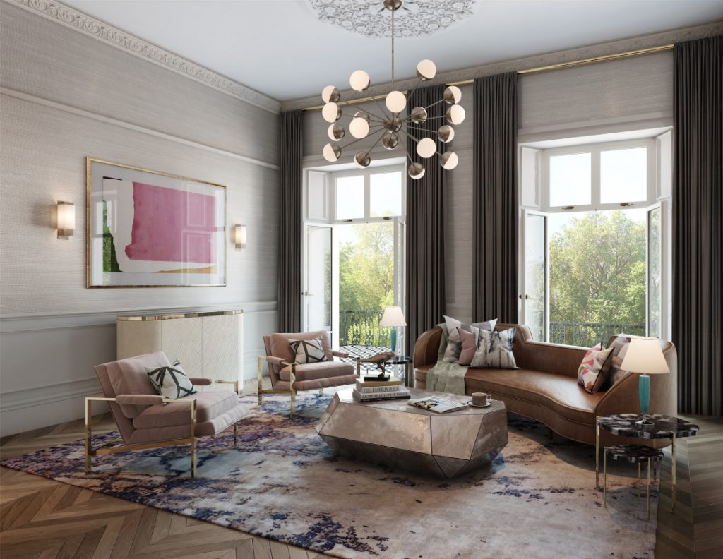 glamorous living room CGI by Studio L, London for Alchemi Group