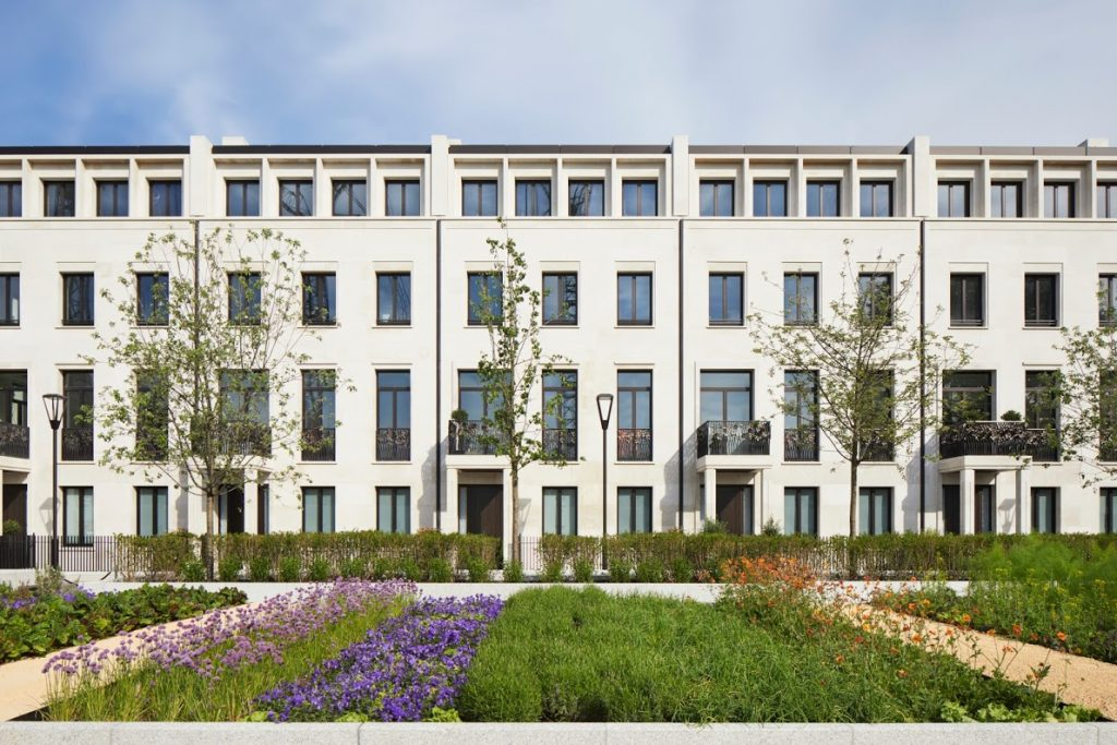 Chelsea Barracks by Qatari Diar with beautiful gardens with touches of color by Jo Thompson.