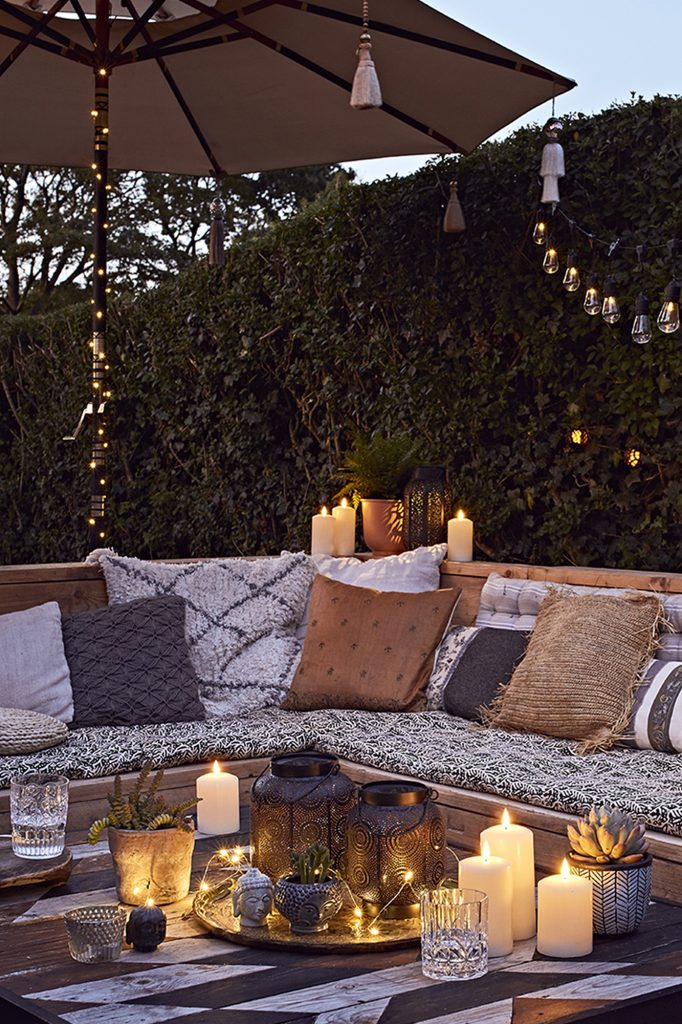 Lights4fun, Journey Courtyard Rustic Seating Area Lifestyle - backyard retreat