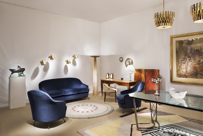 PAD Londres 2017 exhibition featuring Tradition, Star round rug, and chairs and sofa by Max Divani