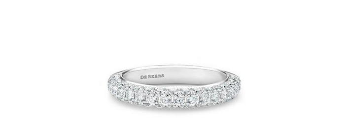 Darling half eternity band in white gold