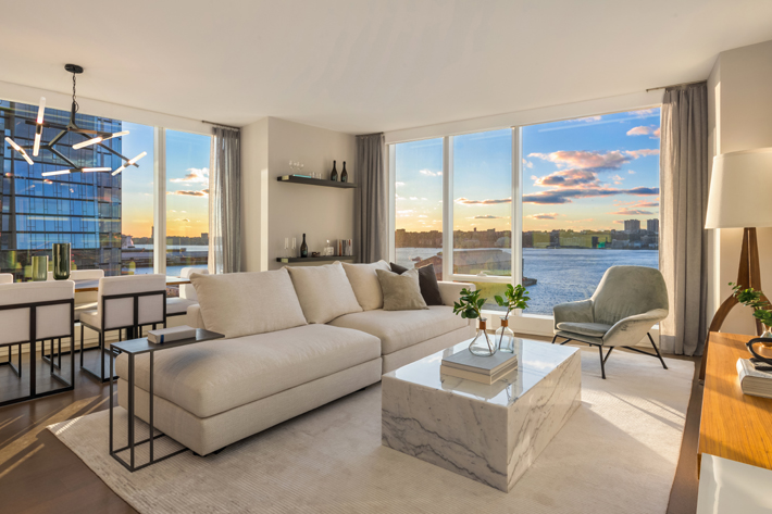 A living room in the Waterline Square building million dollar listings nyc