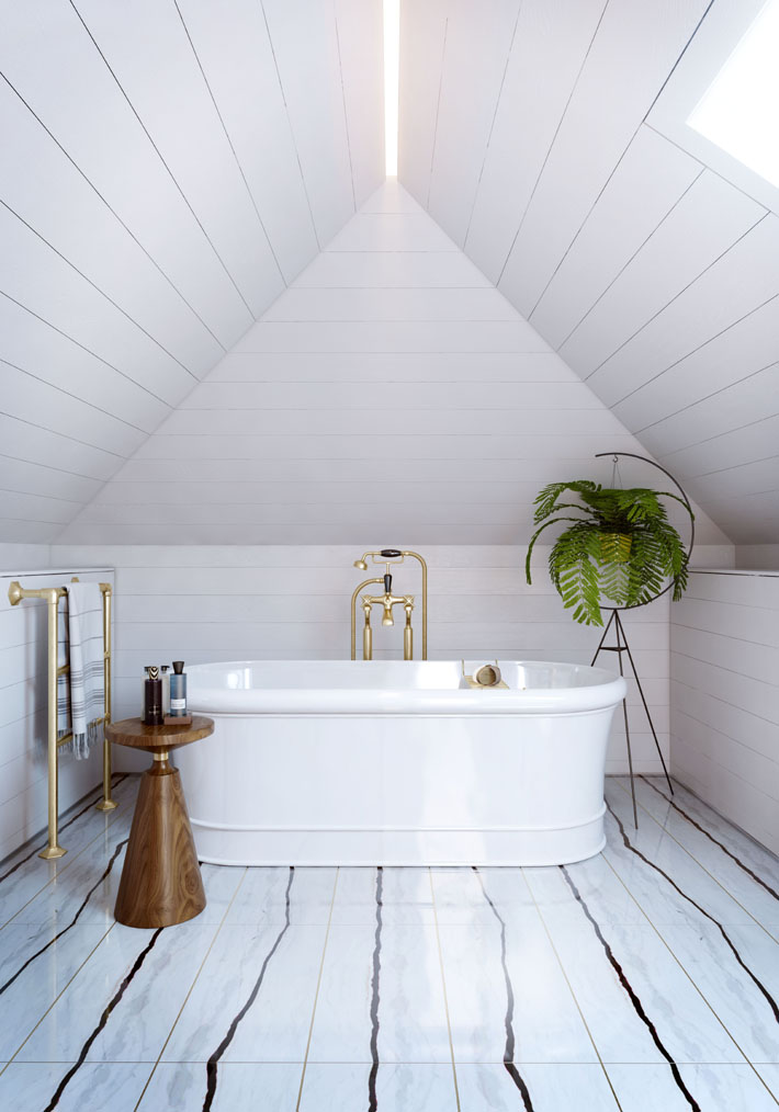 White bathroom with striped tile and horizontal bead board at Westminster Fire Station designed by studio L, London, Laura Marino
