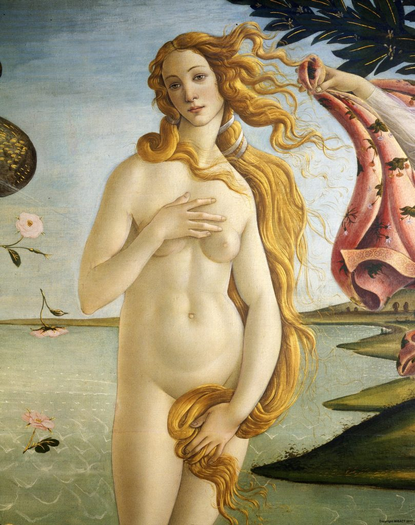 detail of venus from the birth of venus by Sandro Botticelli