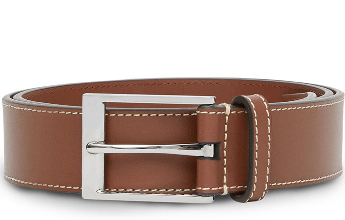 Burberry Topstitched Square Buckle Belt