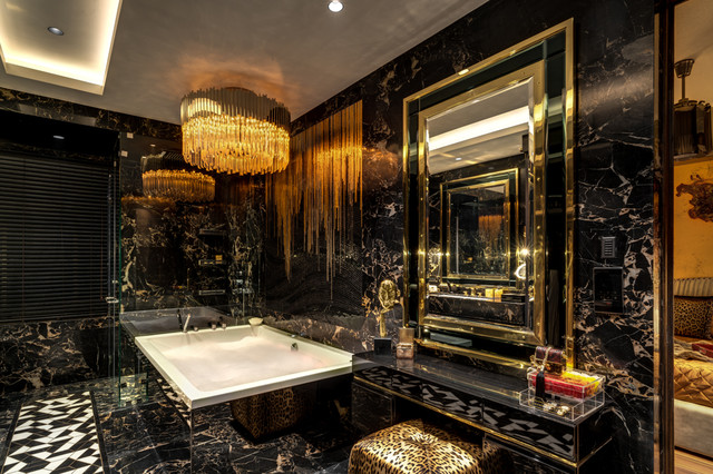 exotic black and gold bathroom design