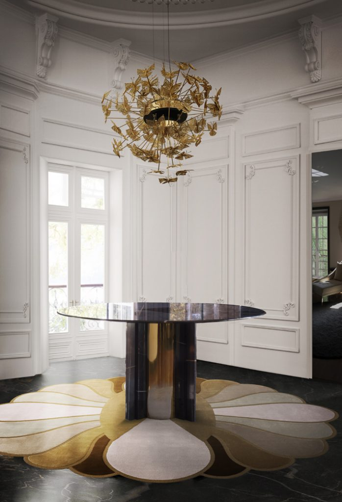 Interior design by KOKET - paris dining table and nymph chandelier - transitional design