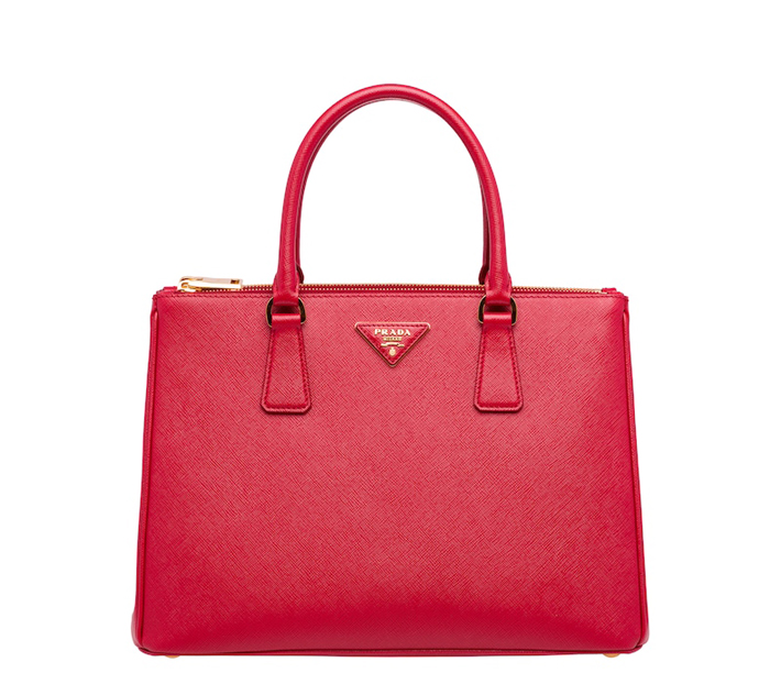 prada galleria bag in red, Saffiano Lux bag