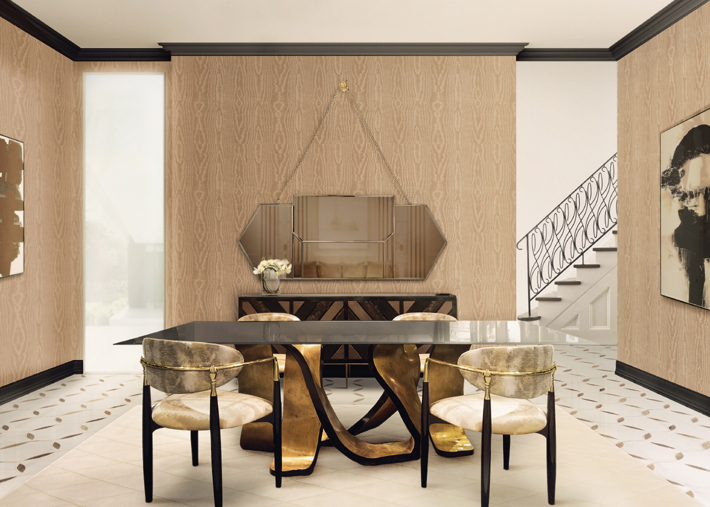ribbon dining table, egoist mirror, nahema chairs by koket - interior design trend unique shapes