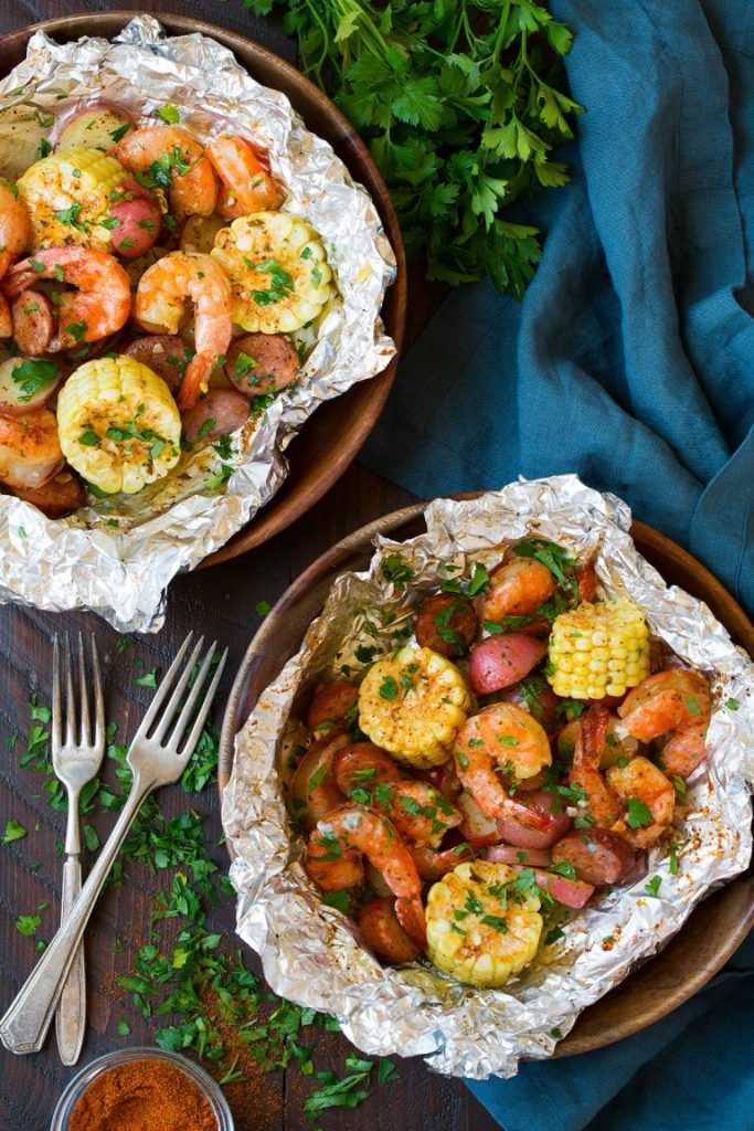 shrimp boil packets summer dinner ideas cooking classy