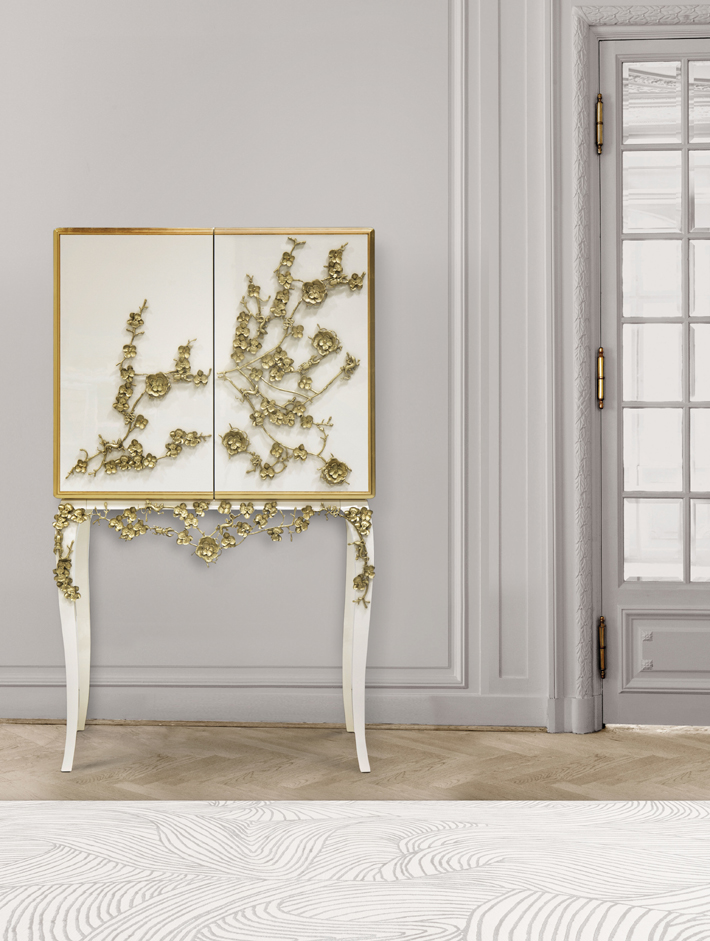 spellbound bar cabinet by koket - white bar with gold floral accents - quarantine cocktails - koktails with koket