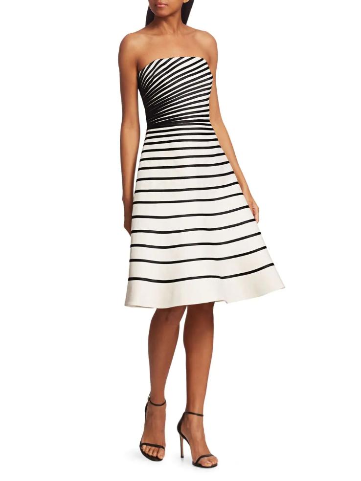 Halston Striped Strapless Dress