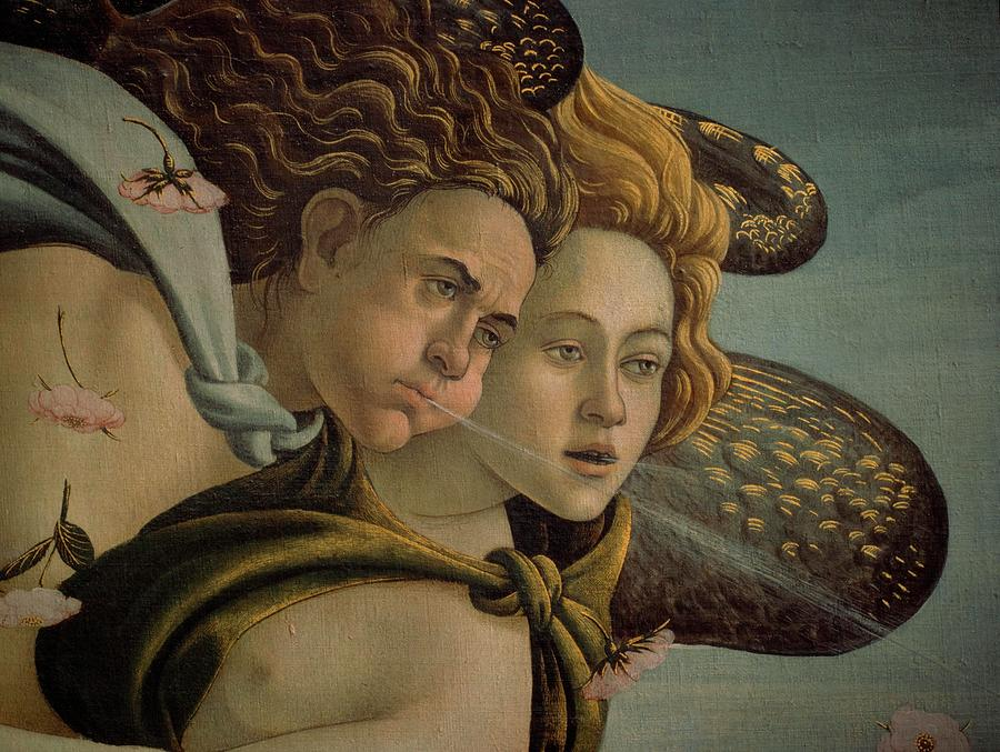 detail of zephyr and aura from the birth of venus by Sandro Botticelli
