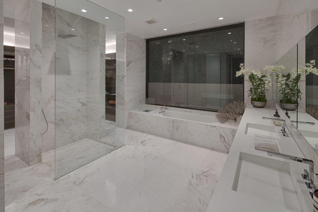 contemporary luxury white marble bathroom