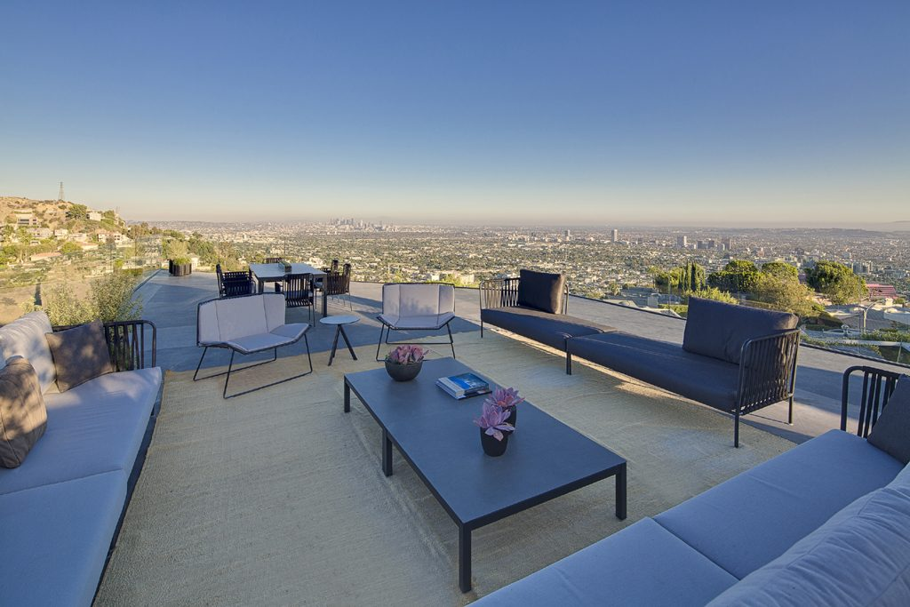 rooftop lounge area overlooking los angeles from hollywood hills, ca