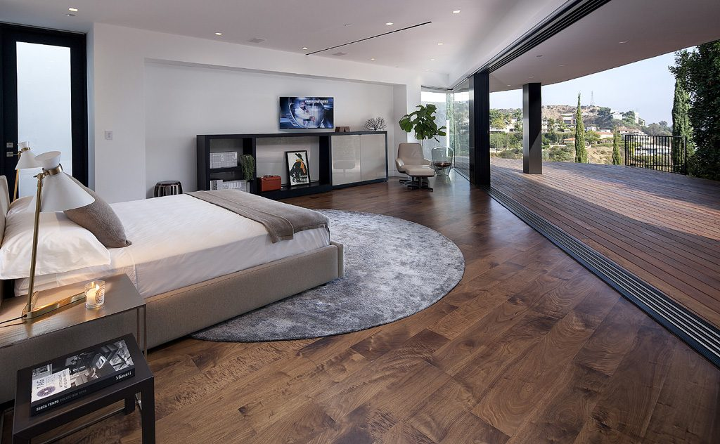 contemporary open guest bedroom design with amazing view